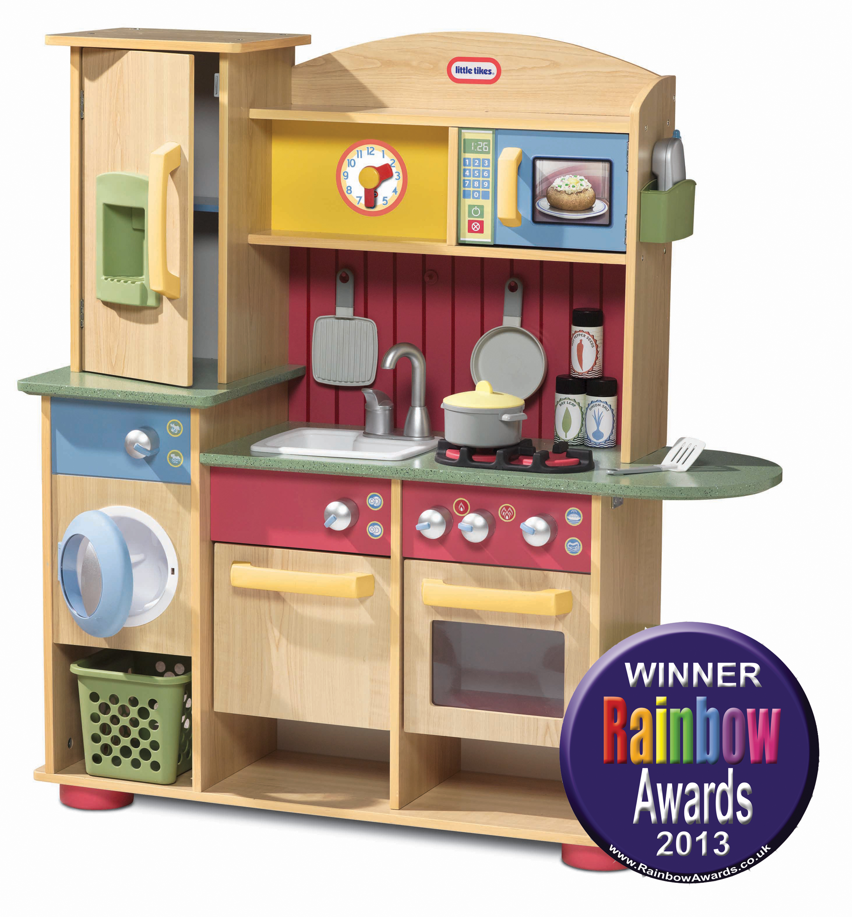 Little tikes cookin 39 creations wood kitchen in rainbow toy for Ikea child kitchen set